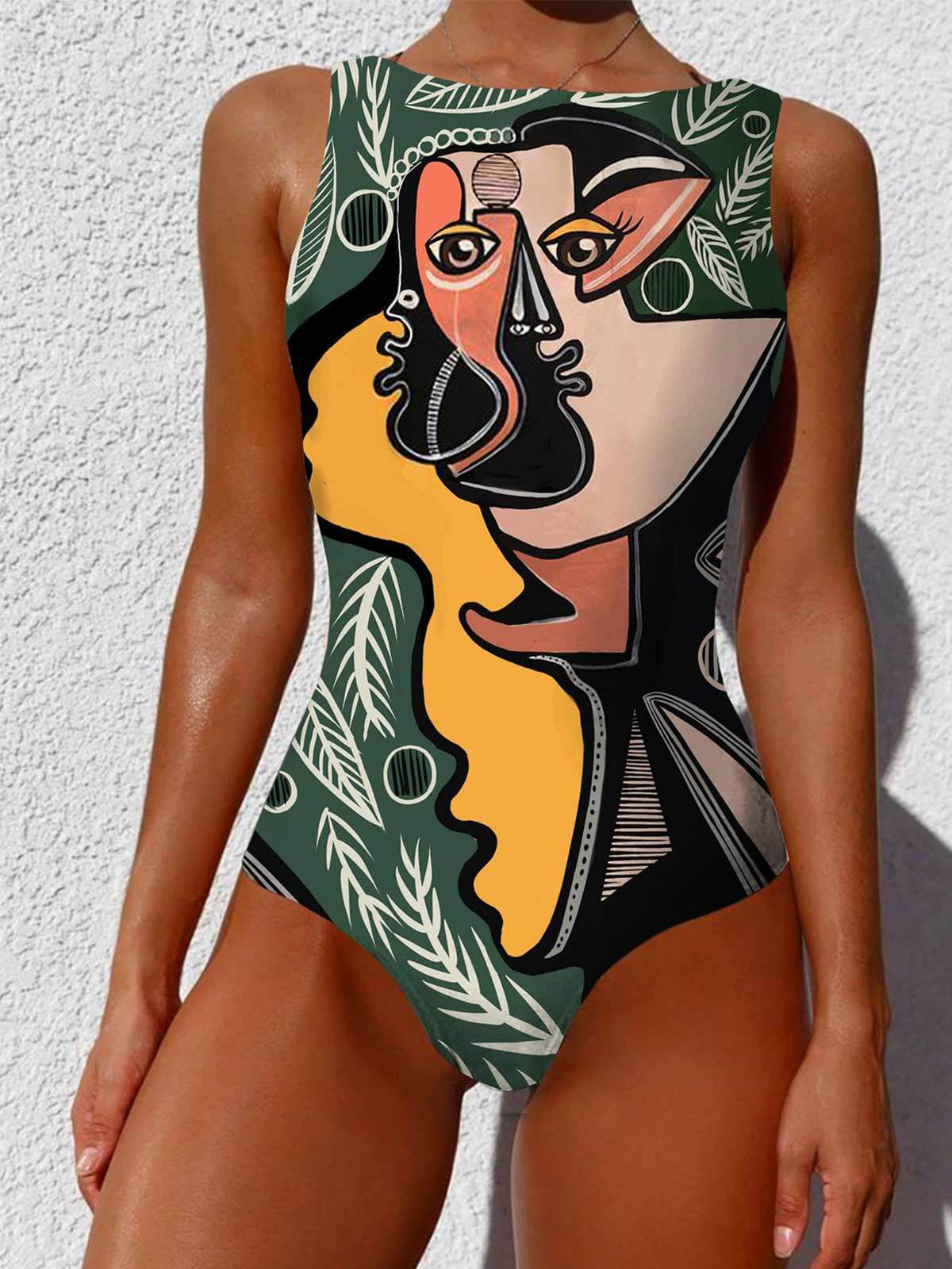 Abstract Pattern Backless Swimsuit