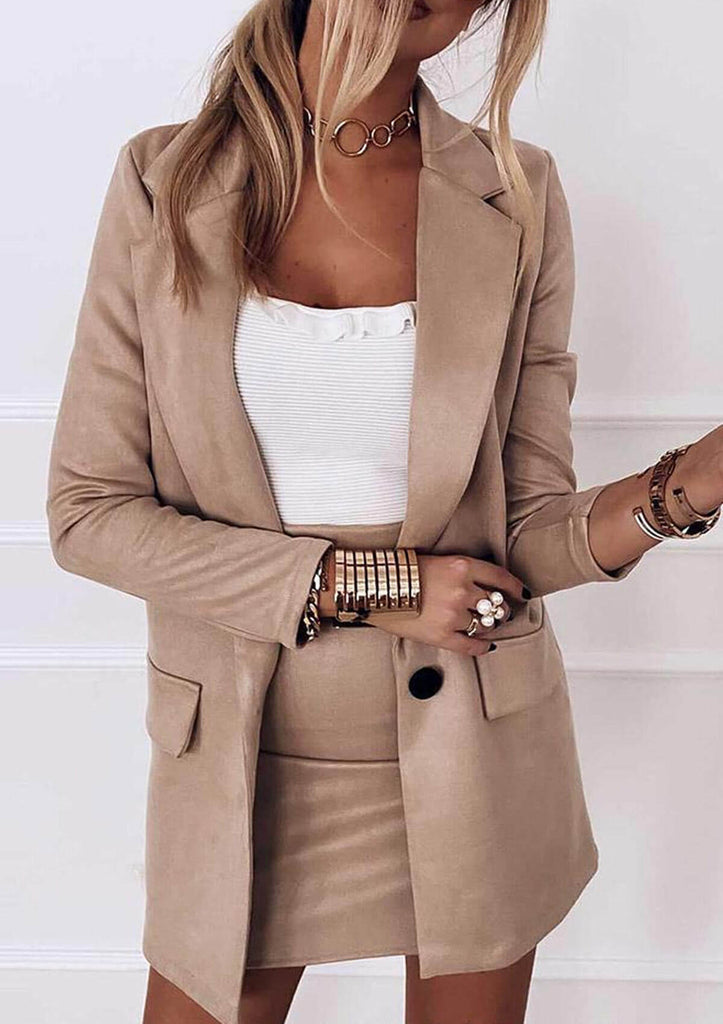 Two-piece Suit Jacket + Suit Bag Hip Skirt