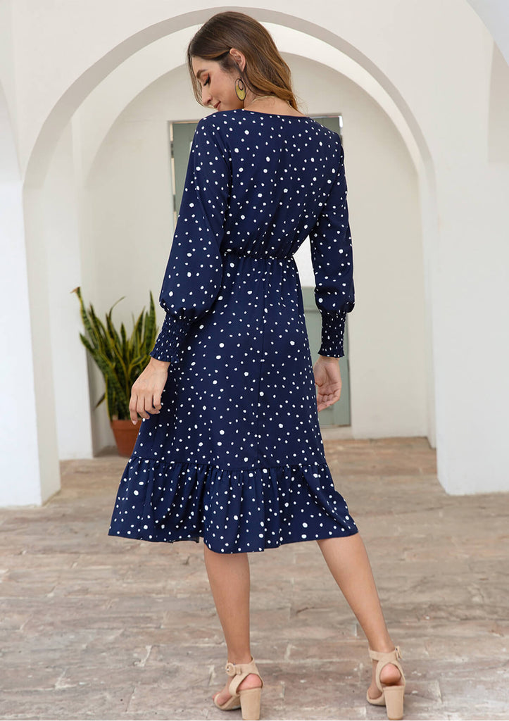 Polka Dot Printed Long Chiffon Dress