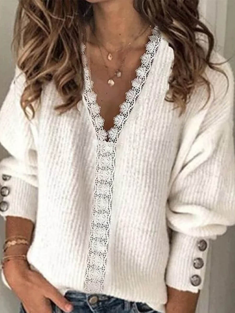 Lace Trim V Neck Sweater