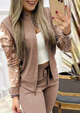 Solid Color Sequin Jacket & Drawstring Pants Sets