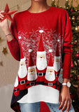 Santa Print Christmas Long Sleeve T-shirt