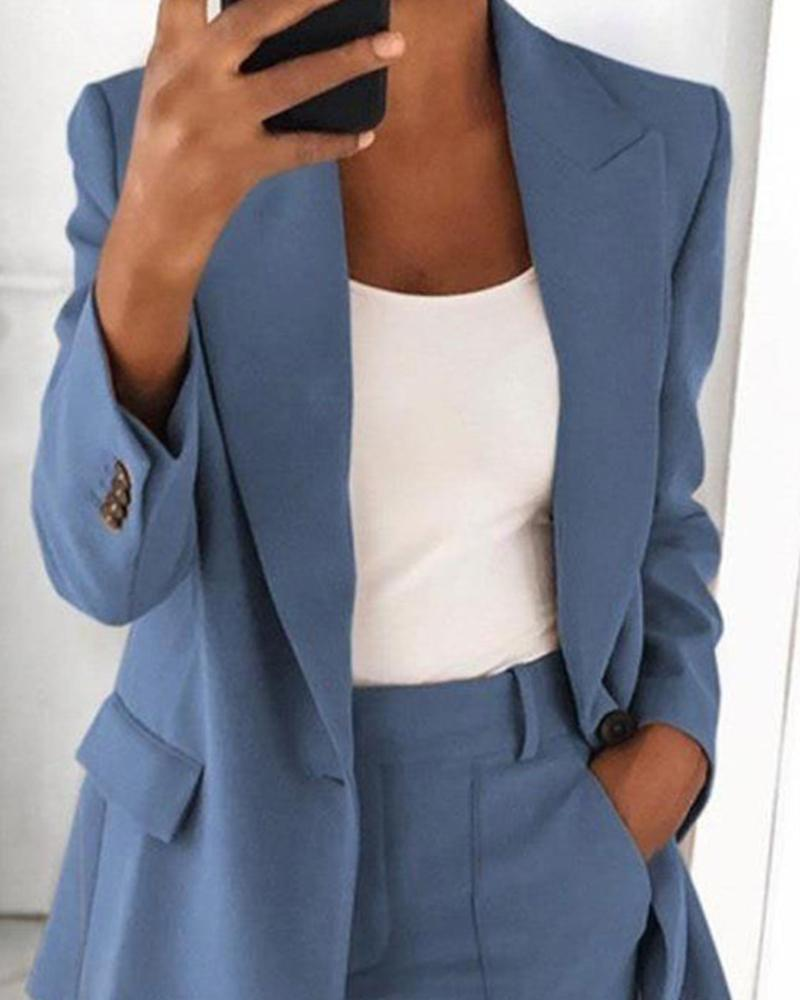 Solid Long Sleeve Suit Coats