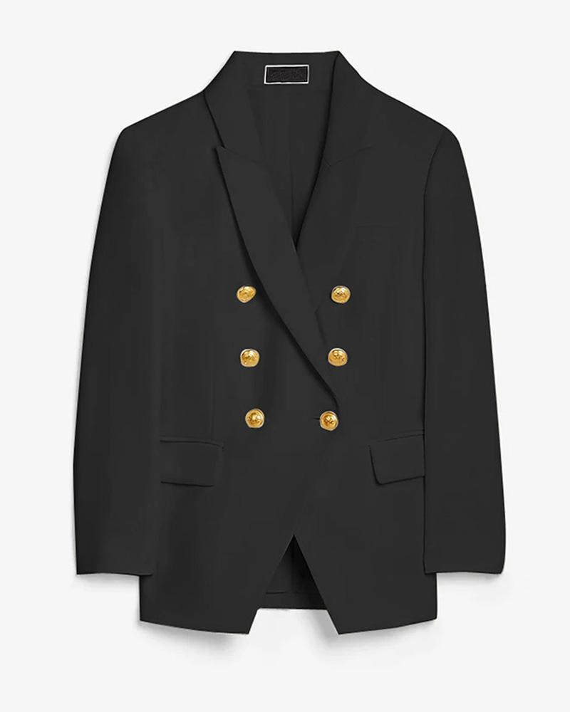 Solid Double Breasted Long Sleeve Blazer Coat
