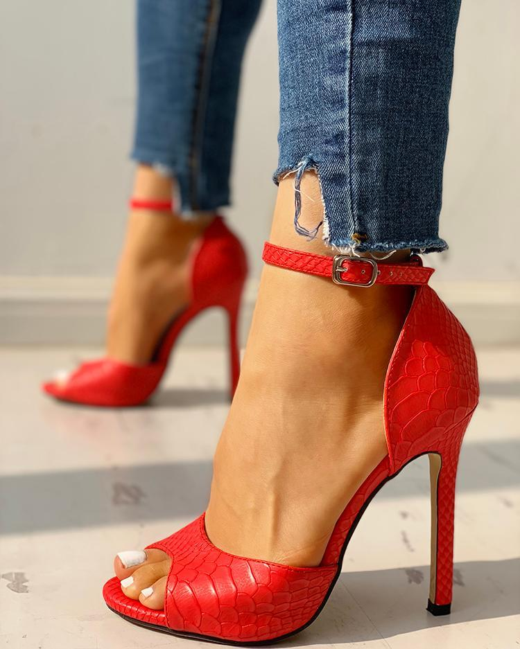 Peep Toe Ankle Strap Stiletto Heel