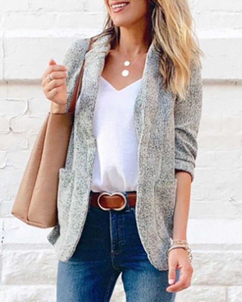 Long Sleeve Pocket Design Blazer Coat