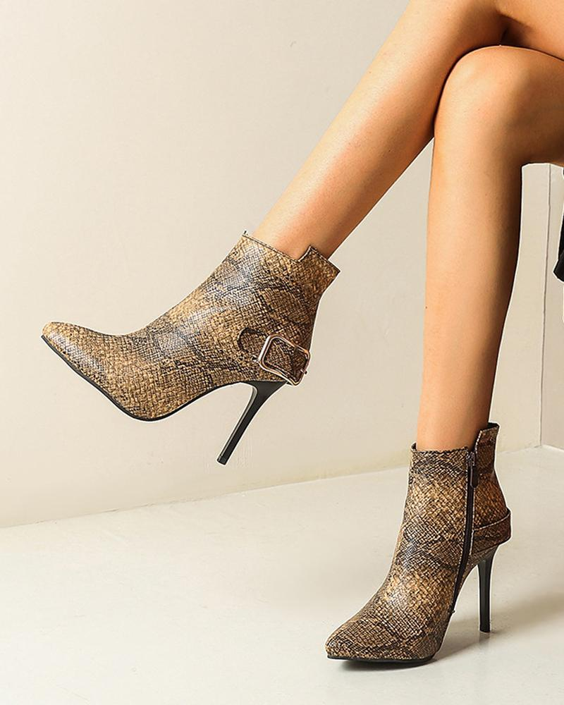 Solid One Buckle High Heel Ankle Boots