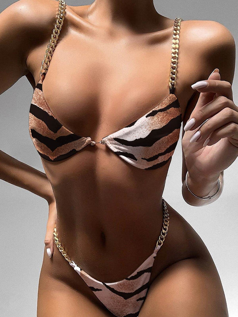 Animal Print Chain Two-piece Bikini