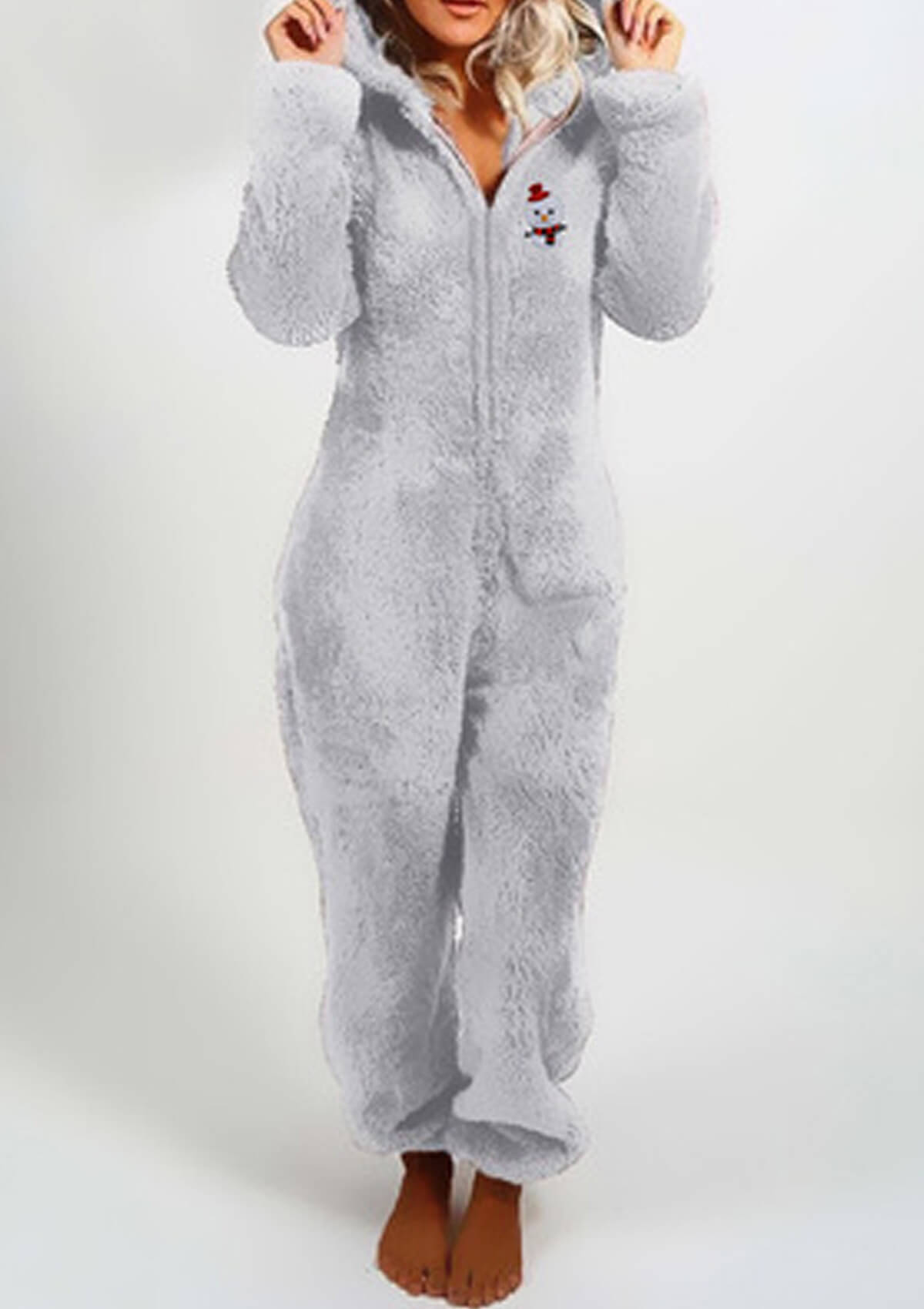 Plush One Piece Pajamas Hooded Jumpsuit