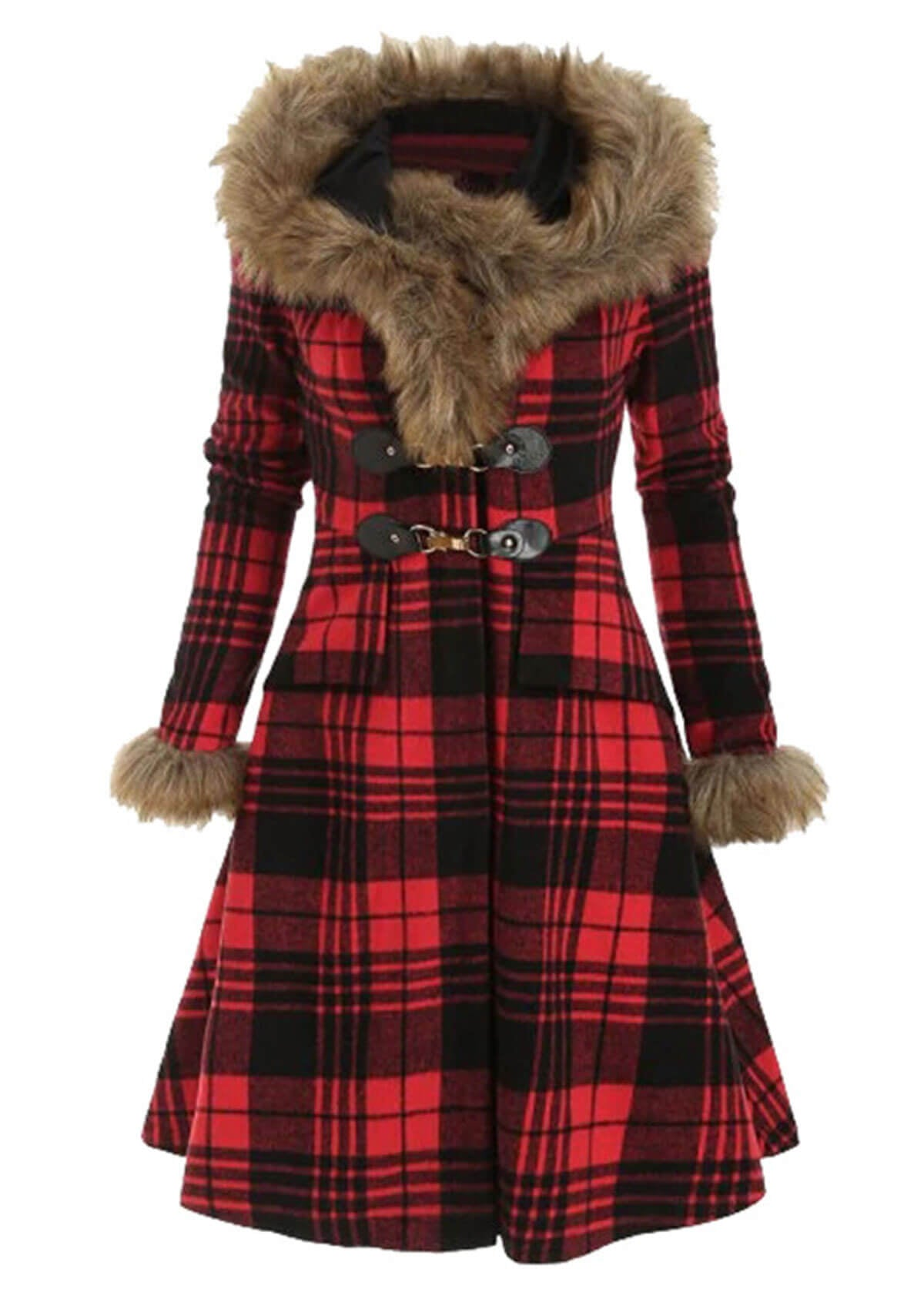 Classic Plaid Printed Faux Fur Hooded Coat
