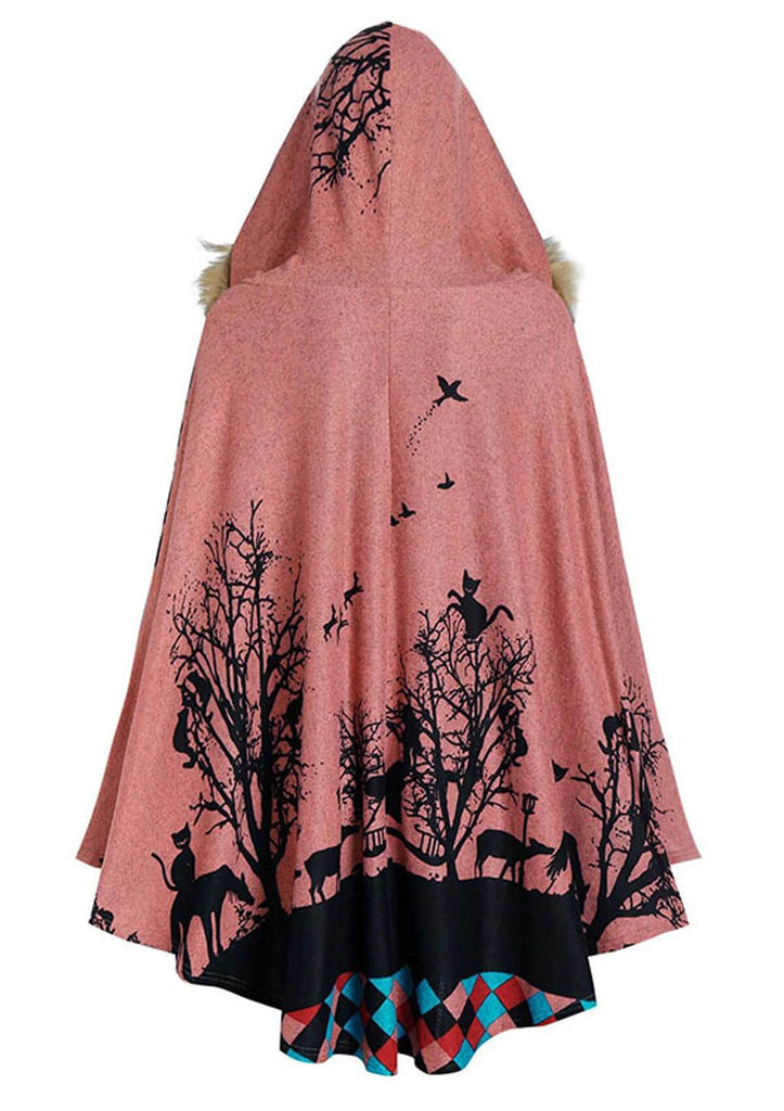 Faux Fur Animal Forest Printed Hooded Cape