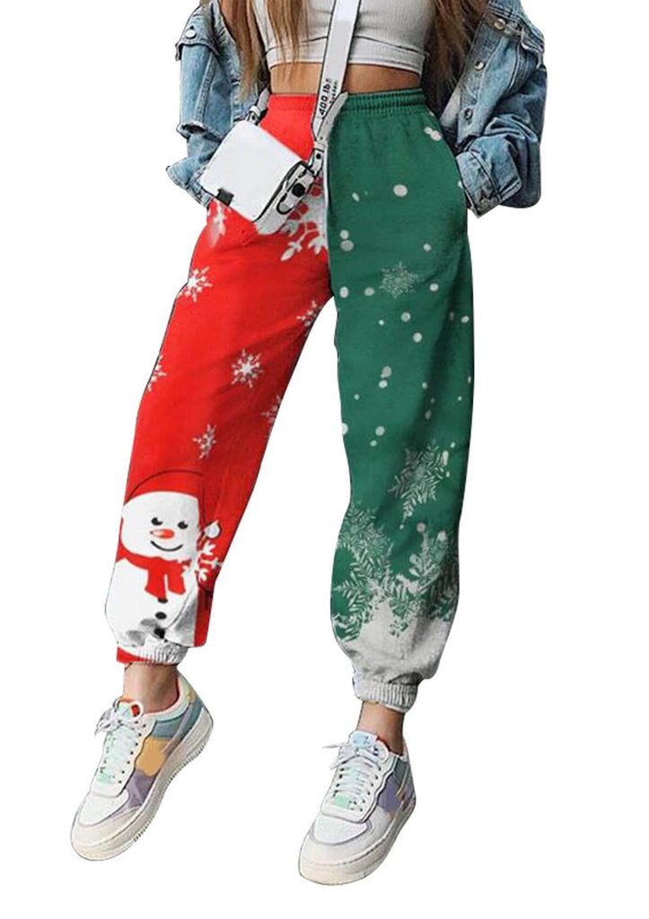 Christmas Print Loose Fleece Sweatpants