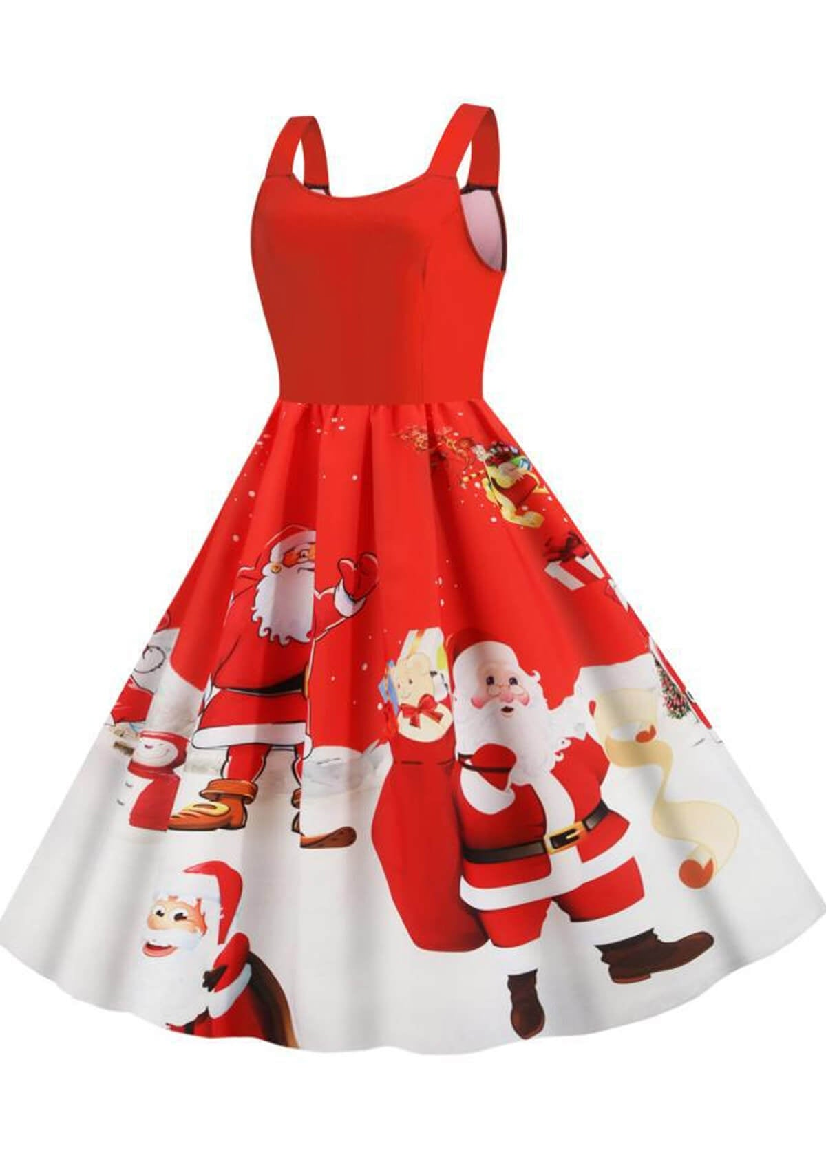 Santa Print Off Shoulder Christmas Dress