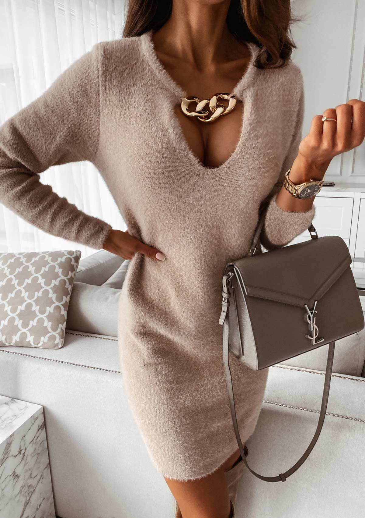 Sweater Dress With Chain Decoration