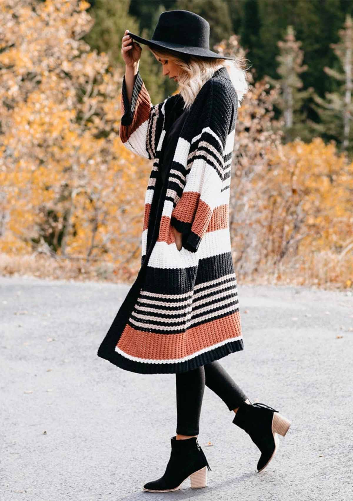 Striped Color Block Long Cardigan Sweater