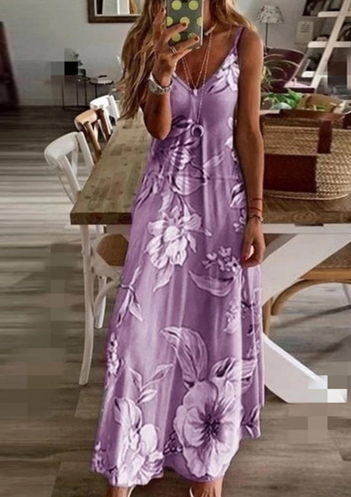 Plus Size Floral Sling Maxi Dress