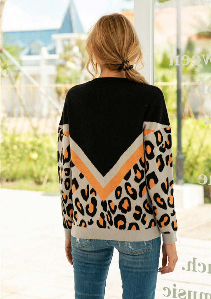 Leopard Color Block Sweaters