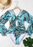 Floral Long Sleeve One Piece Swimsuit