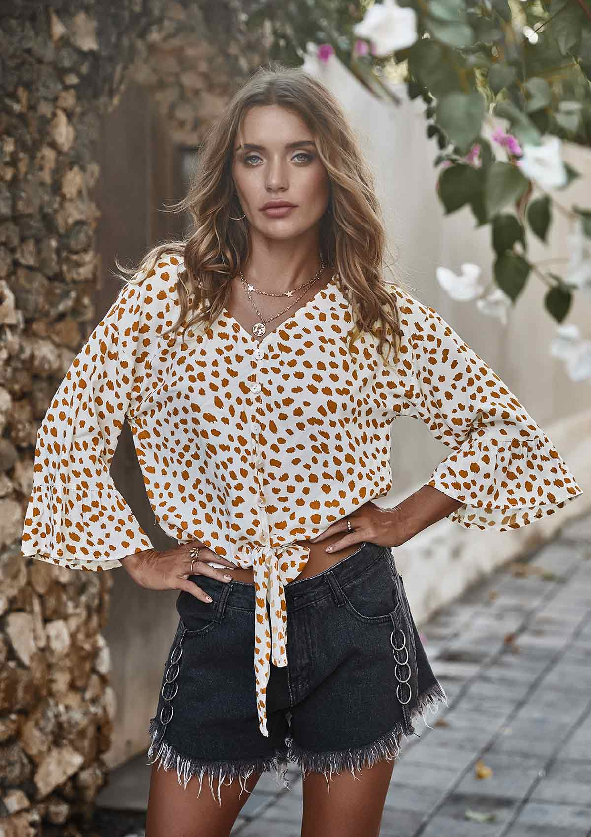 Polka Dot V Neck Tie Knotted Blouse