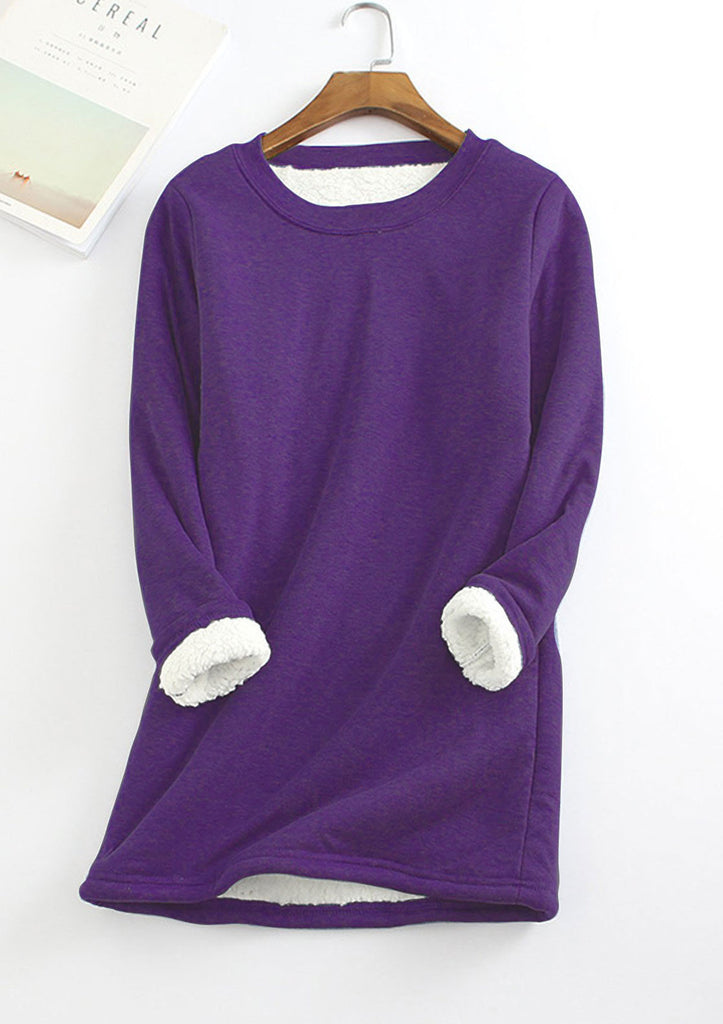 Fleece-Blend Long Sweatshirt