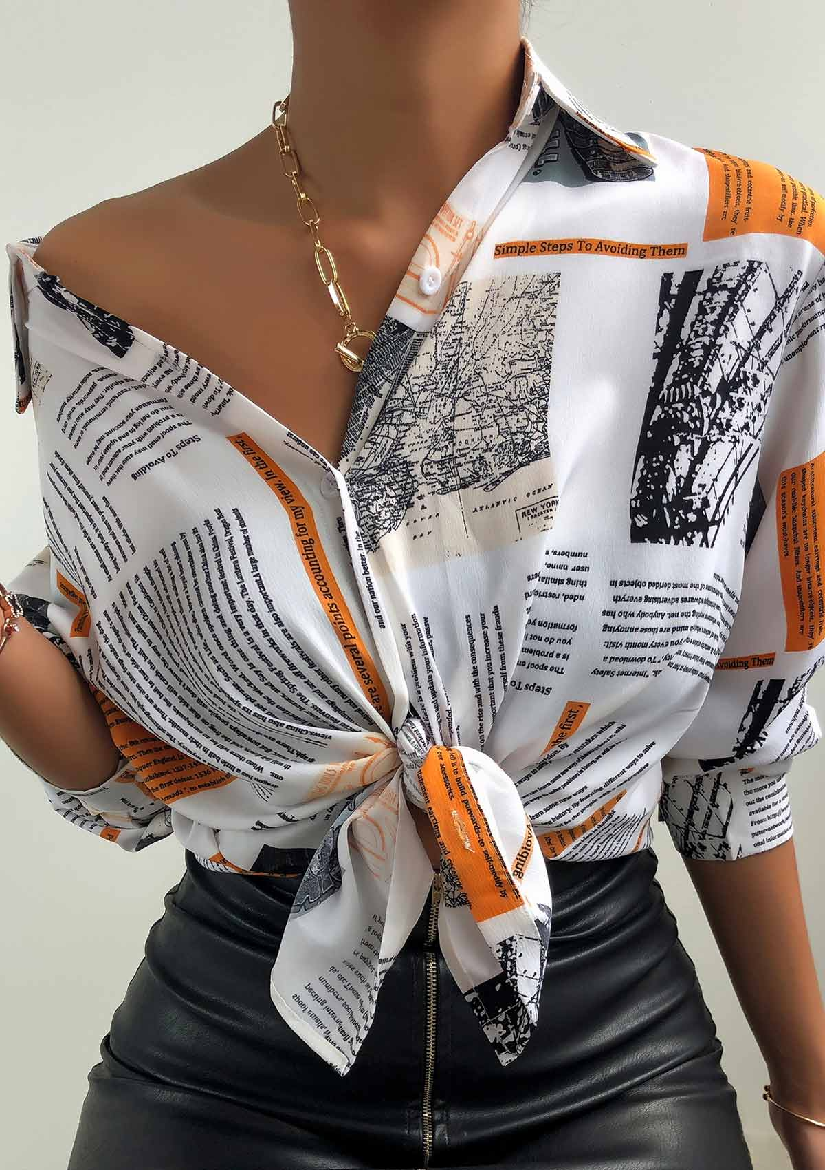 Vintage Newspaper Print Shirt
