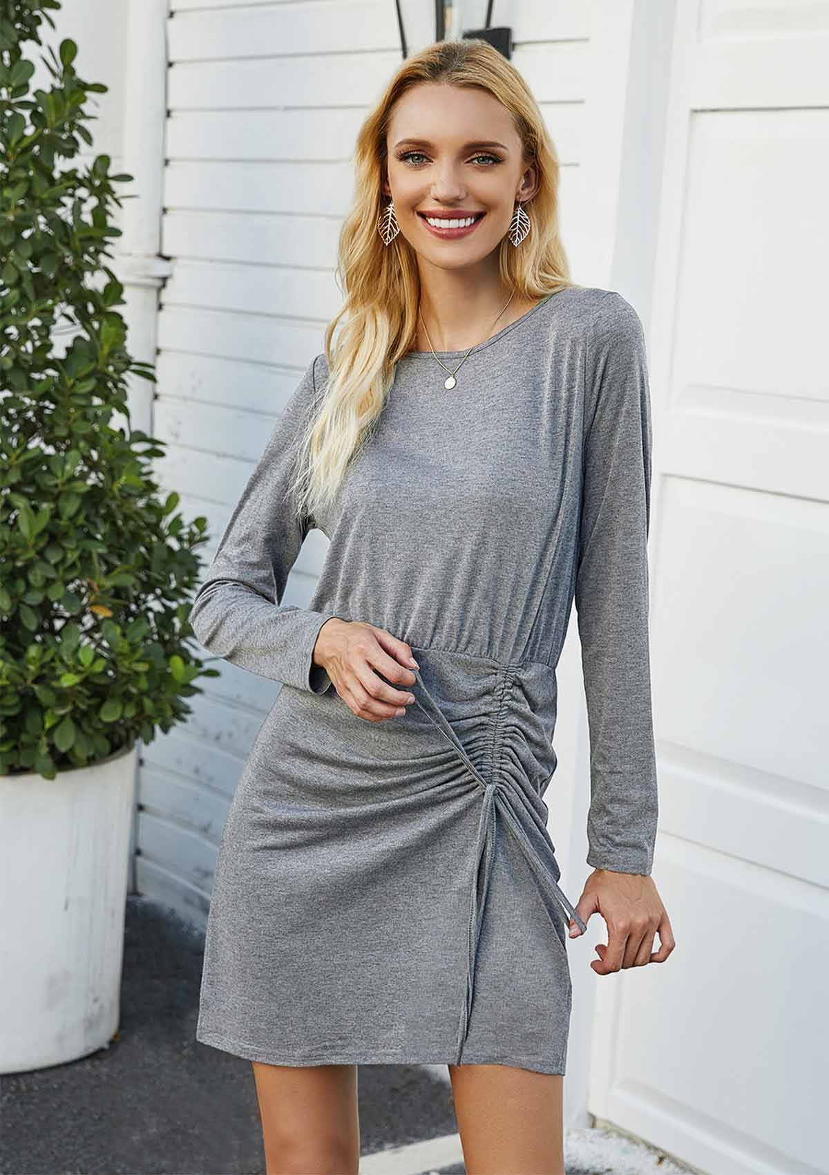 Solid Color Pleated Long Sleeve Dress
