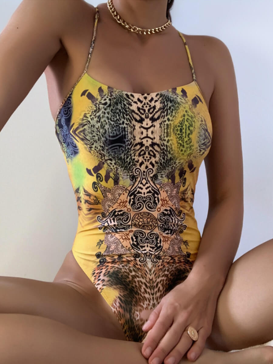 Leopard Cross Bandage Swimsuit