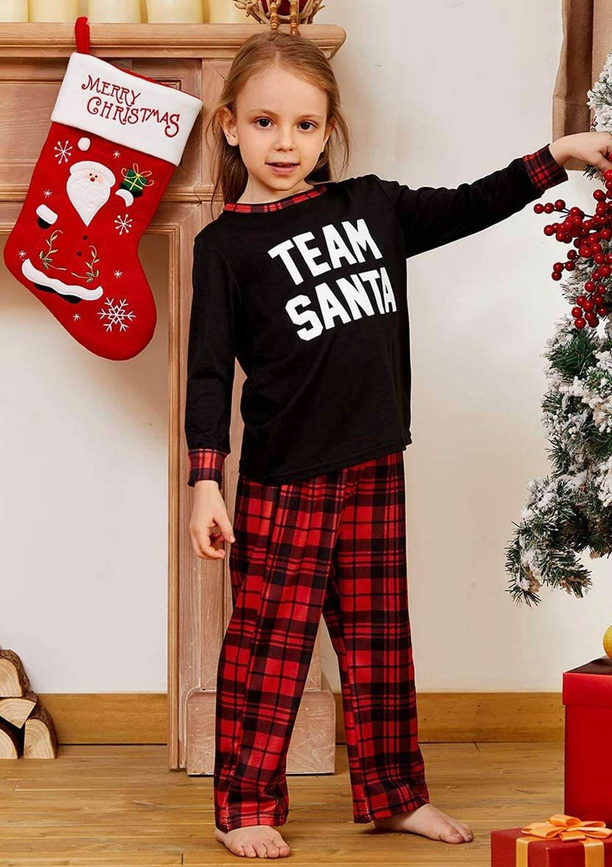 Christmas Lattice Print Parent Child Outfit
