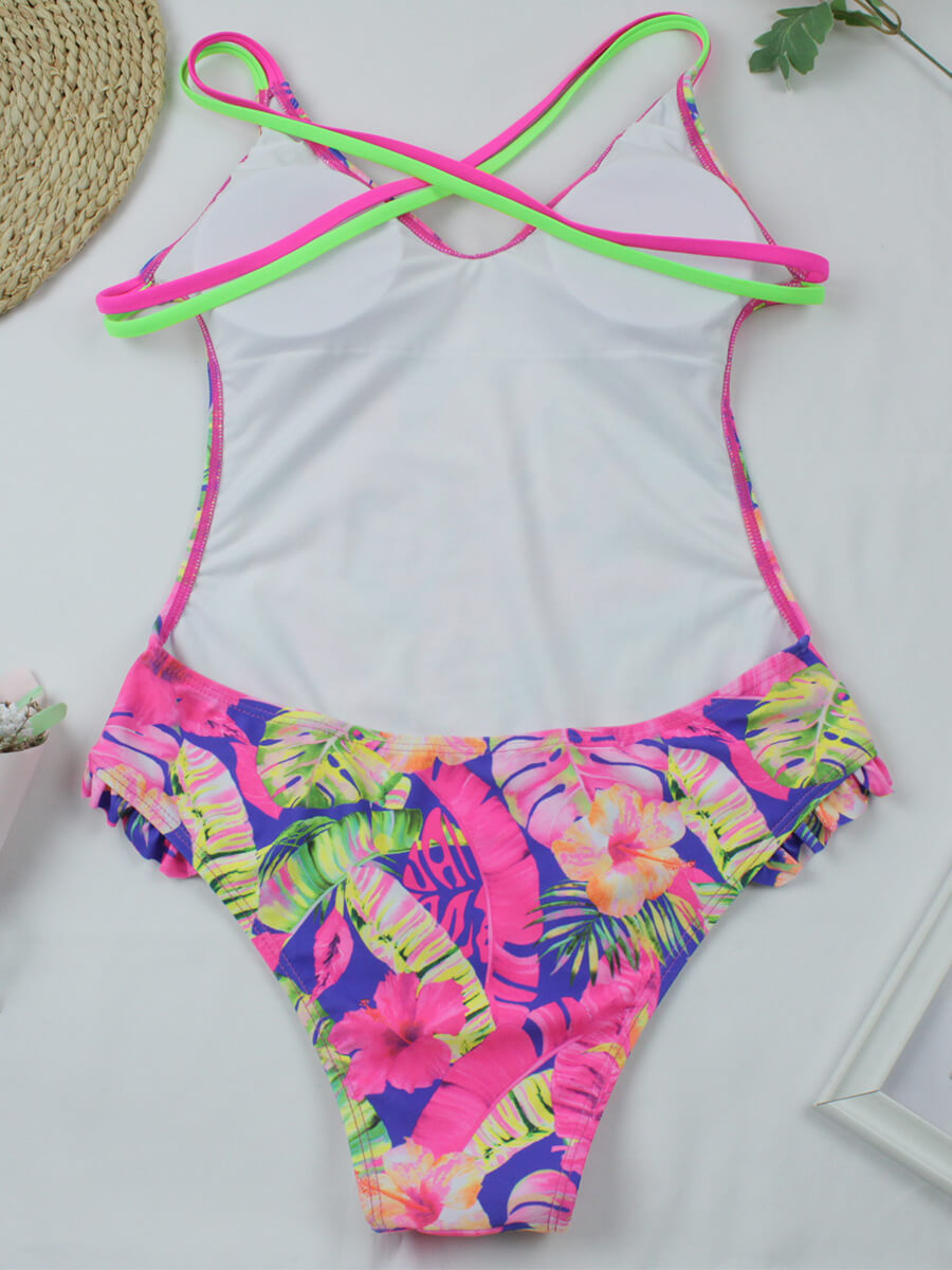 Floral Crisscross Back Swimsuit