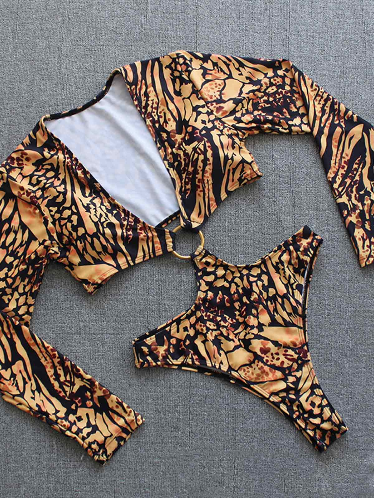 Leopard Print Hollow Out One-piece Swimsuit