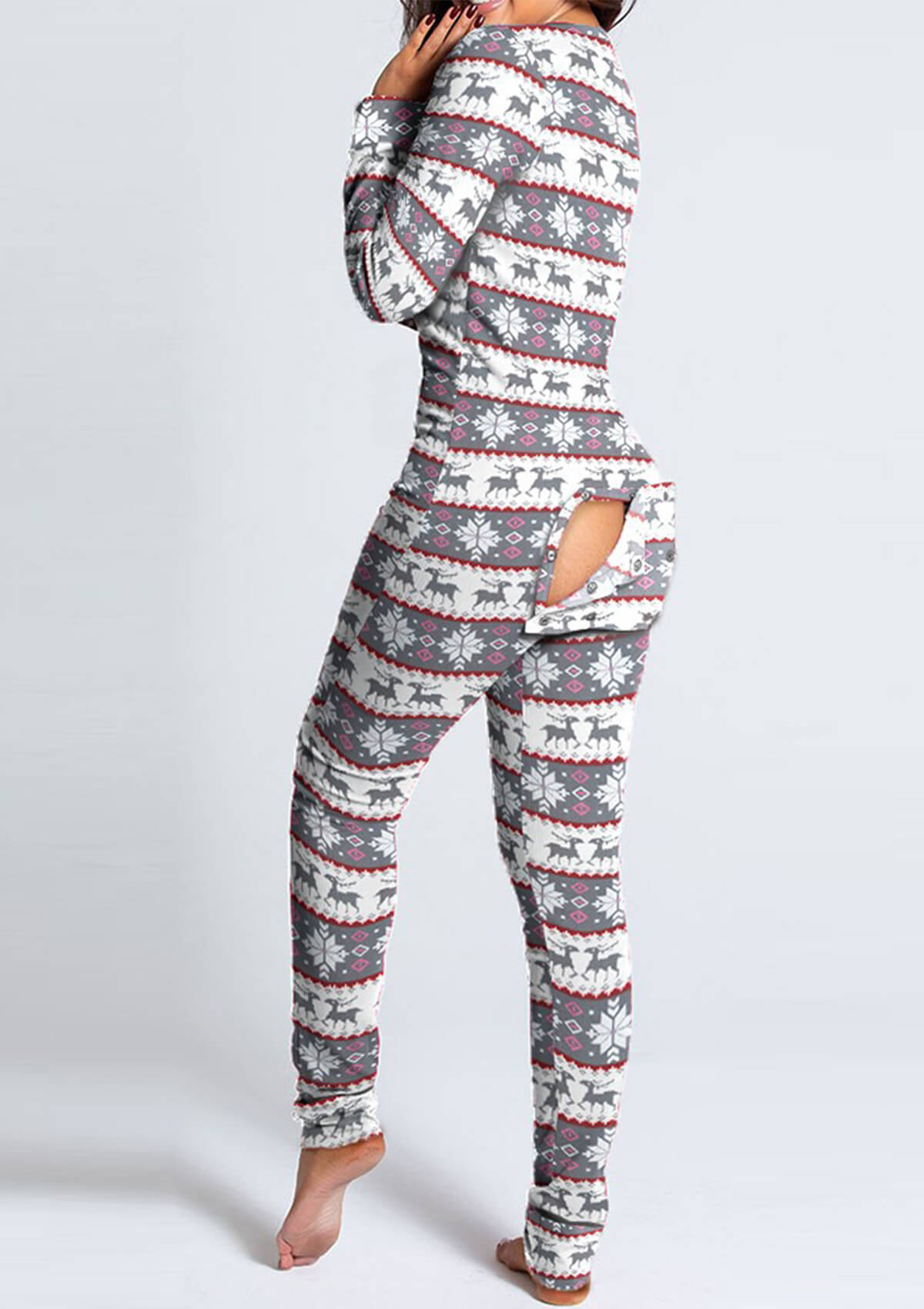 Slim Functional Buttoned Flap Adults Pajamas