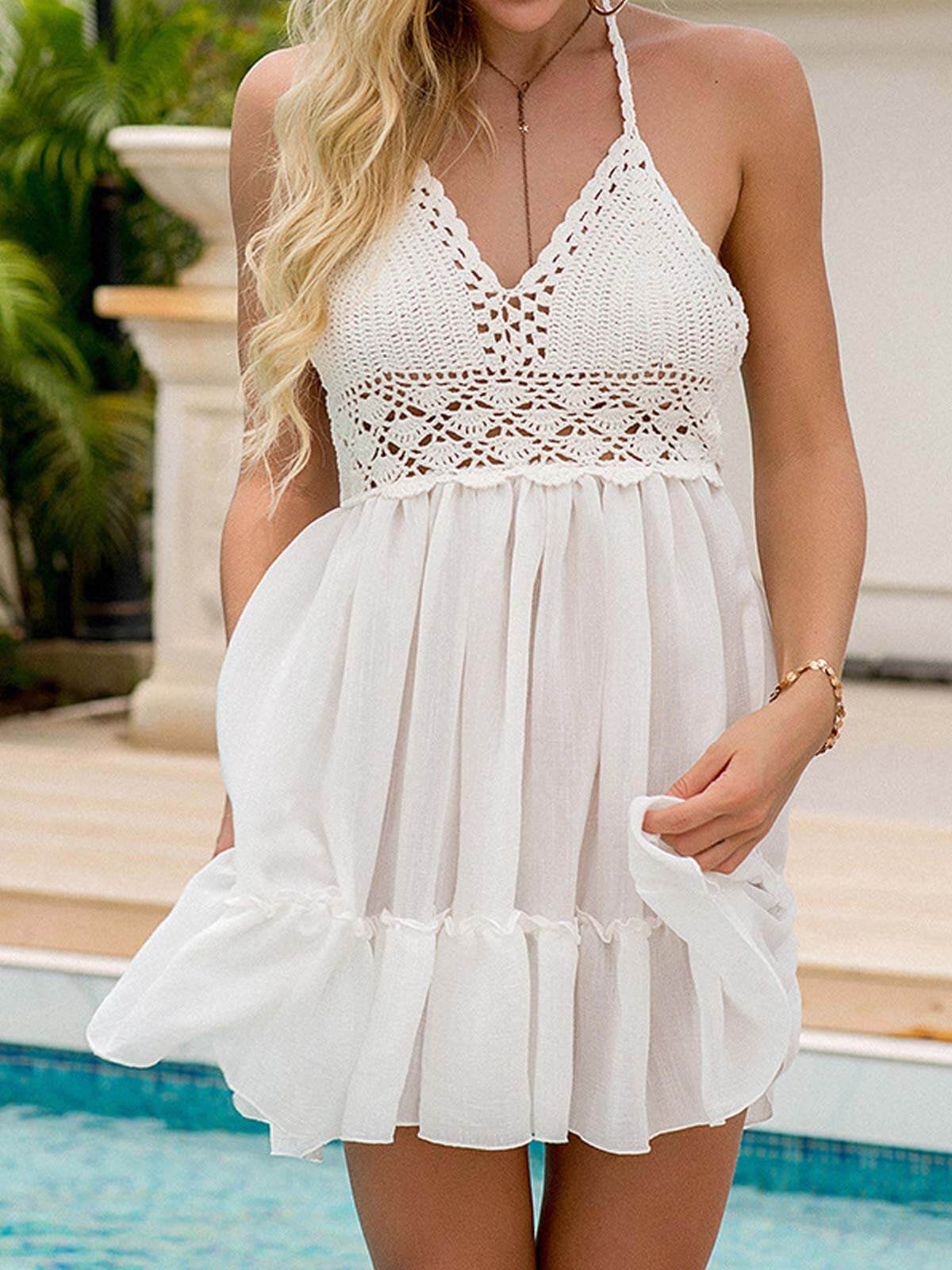 Crochet Hollow Out Halter Swimsuit