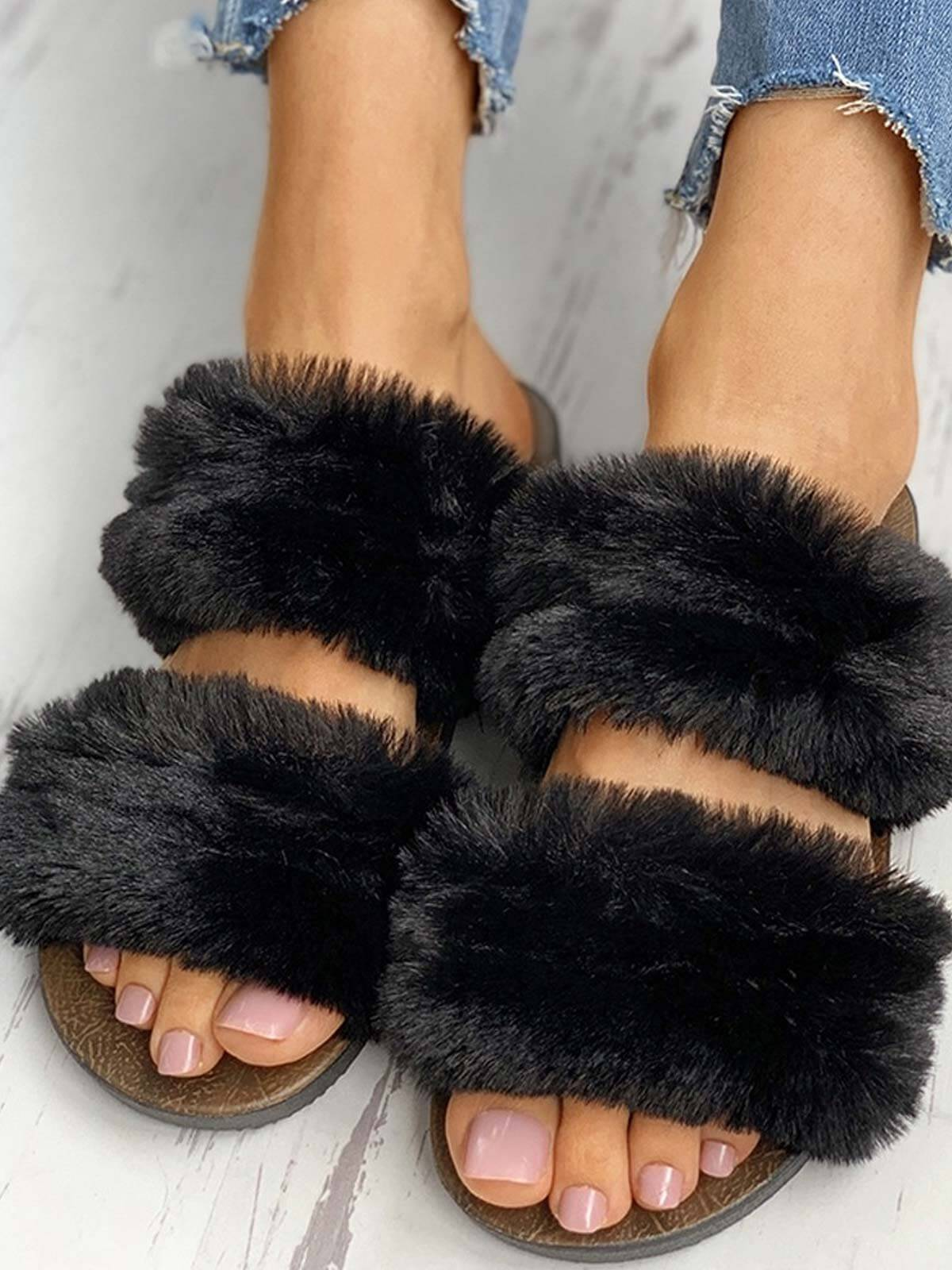 Fluffy Design Open Toe Flat Slippers