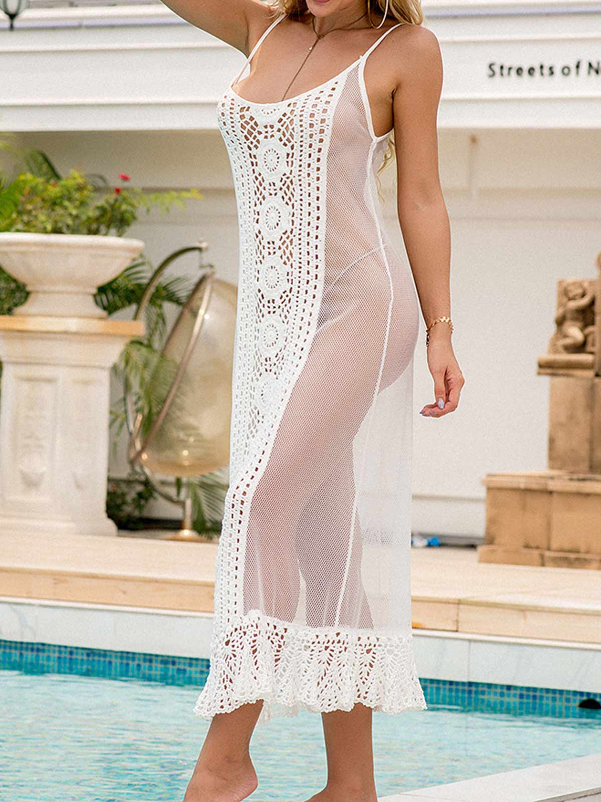 Crochet Patchwork Mesh Sling Dress