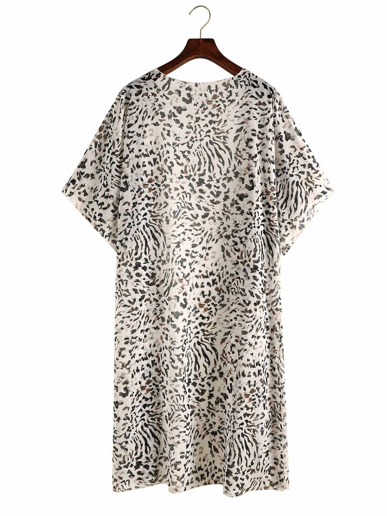 Leopard High Split Hem Cover Up