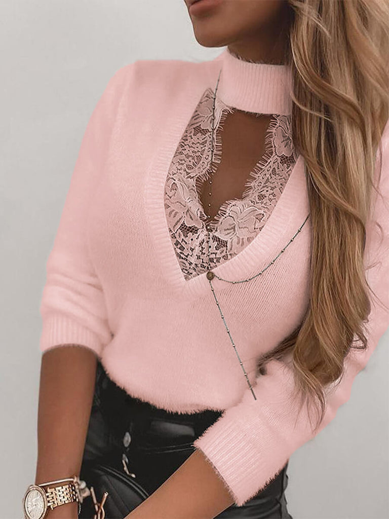 High Neck Lace Cutout Long Sleeve Sweater