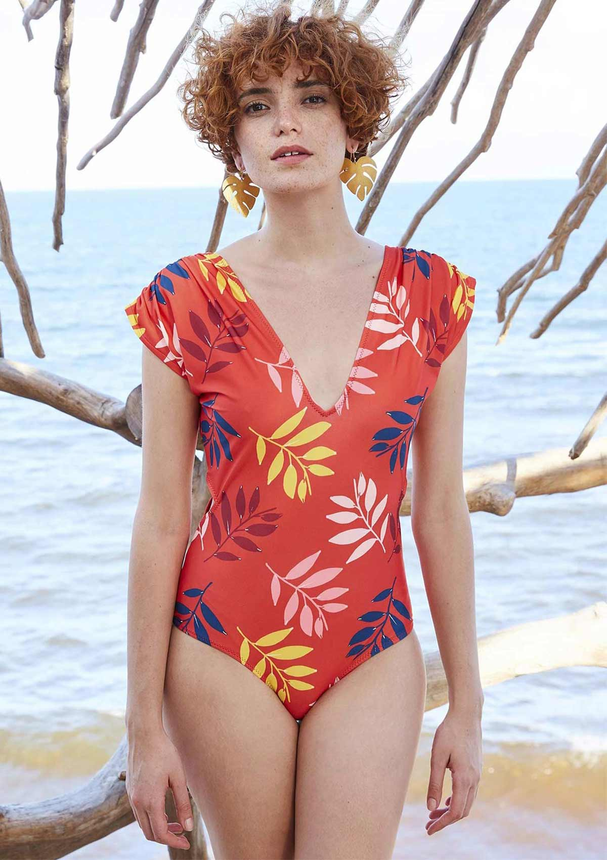 Low Cut Neck Cap Sleeve Swimsuit