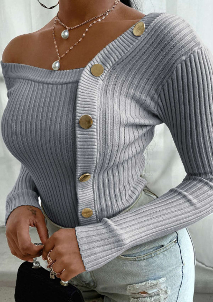 Stitching Button Threaded Strapless Knitted Sweater