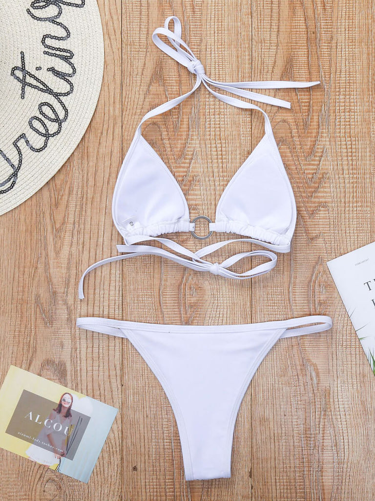 Shiny Ring Deco Bandage Bikini Set