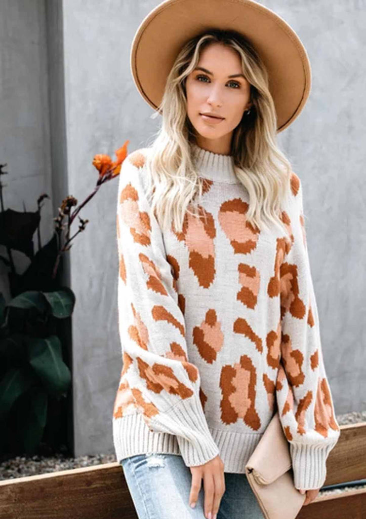 Leopard Bat Sleeve Knitted Sweater