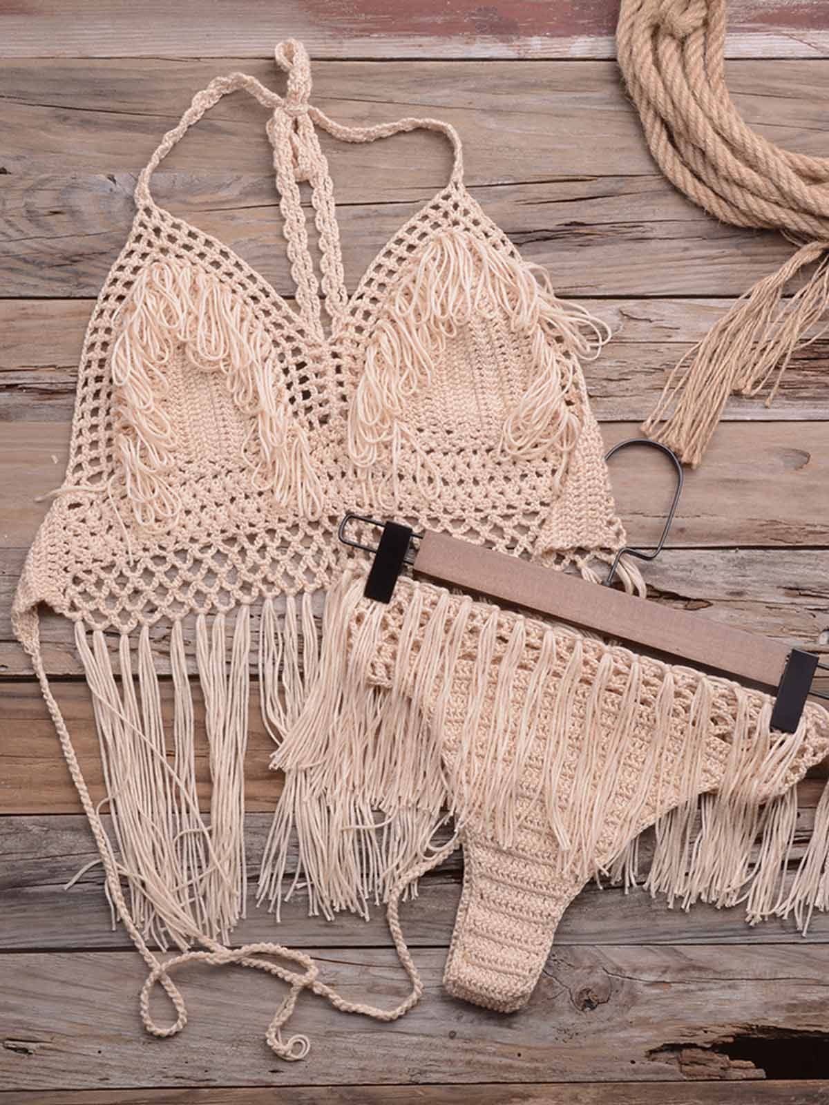 Tassel Crochet Hollow Out Swimsuit