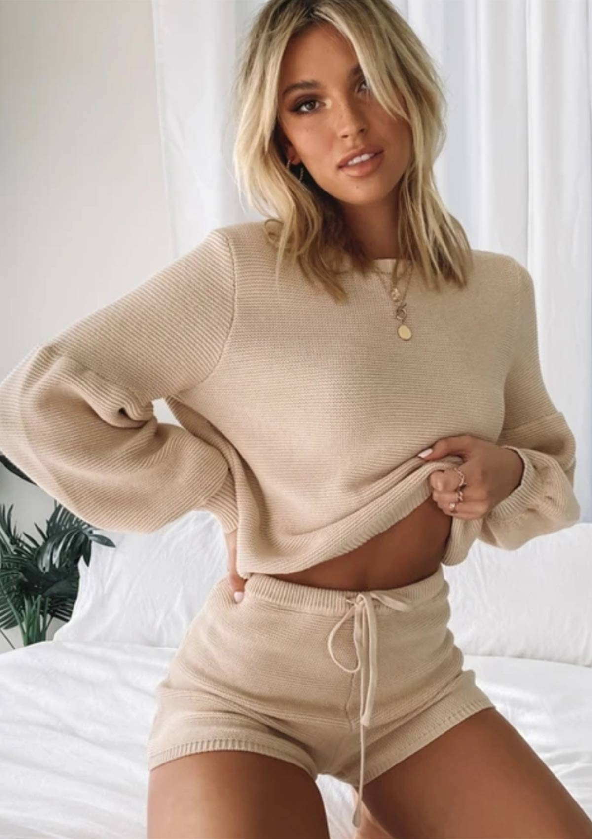 Knitted Tops & Shorts Set