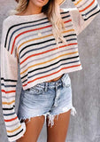 Colorful Striped Lightweight Short Sweater