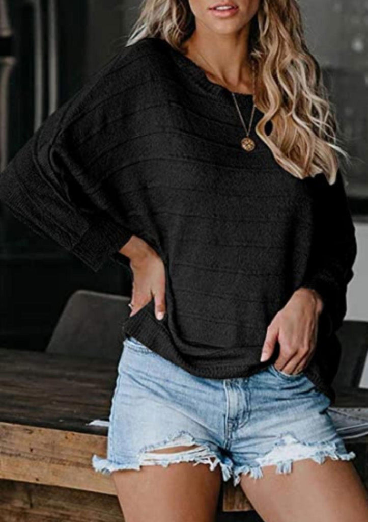 Bat Sleeve Stripe Crewneck Sweater