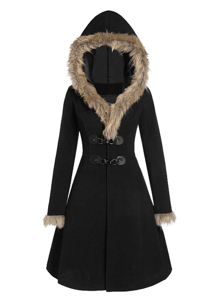 Faux Fur Hooded Midi Coats