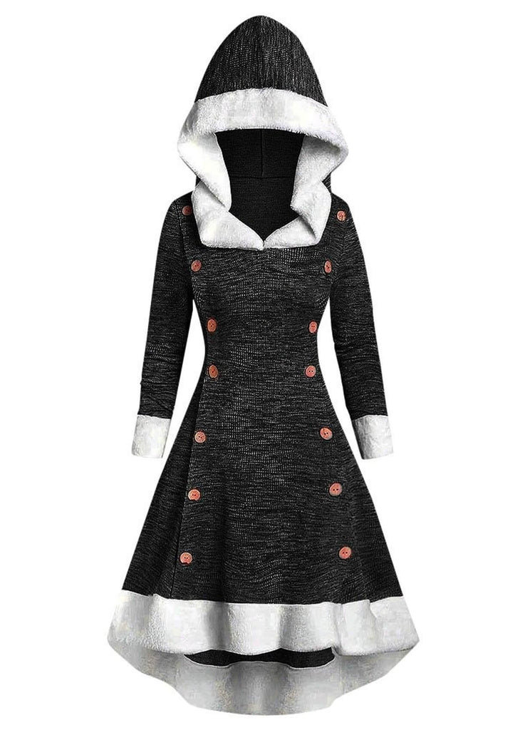 Button Front Hooded Dress