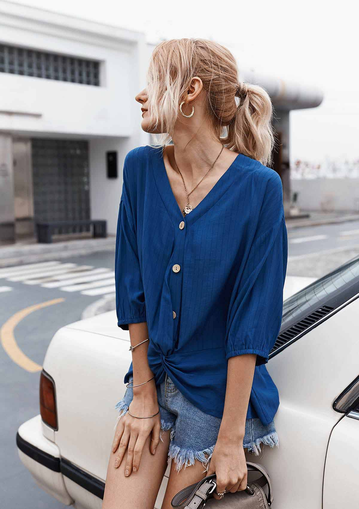 Solid Color Button Tunic Blouse