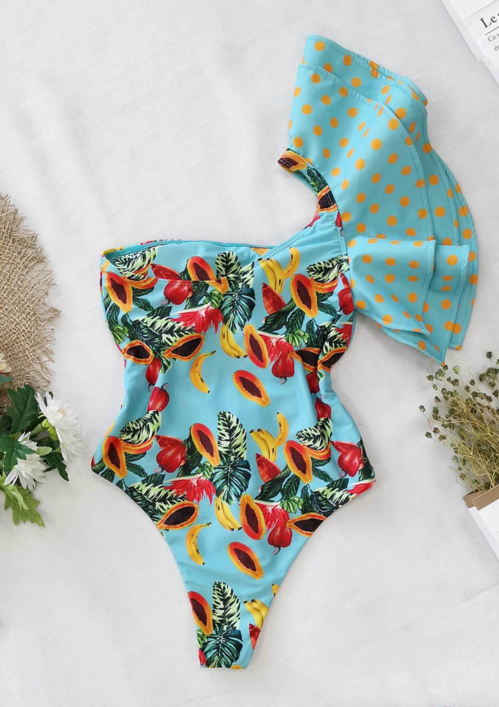 Ruffled Floral One Shoulder Swimsuit