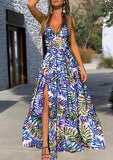 Tropical Print High Slit Maxi Dress