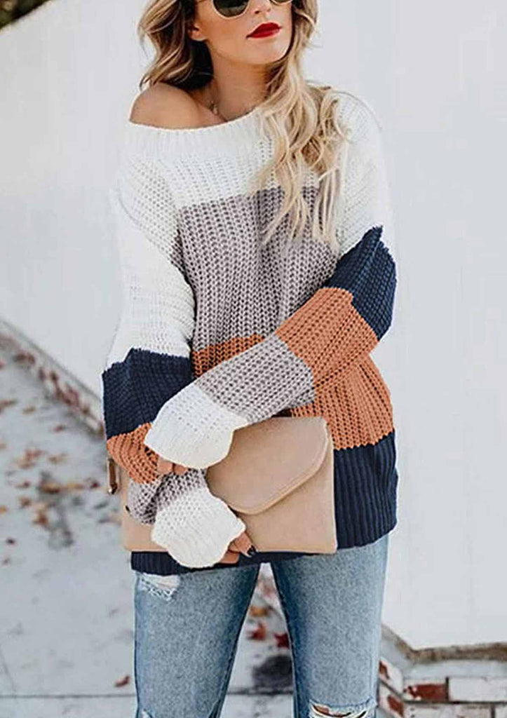 Color Block Ribbed Knit Sweaters